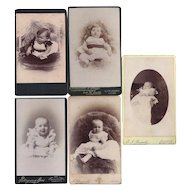 Group of 5 Carte-de-Visite Photograph Cards, Babies