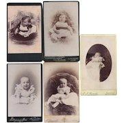 Group of 5 Carte-de-Visite Photograph Cards, Babies