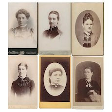 Group of Six Carte-de-Visite (CDV) Photo Cards of Women