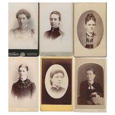Group of Six Carte-de-Visite (CDV) Photo Cards of Women