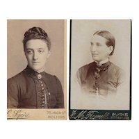 Pair of Carte-de-Visite (CDV)  Photographs, Women in Victorian Dress
