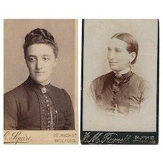 Pair of Carte-de-Visite (CDV)  Photographs, Women in Victorian Dress