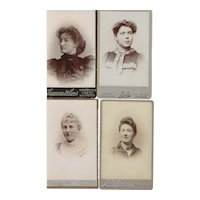 Group of 4 Carte-de-Visite (CDV) Photographs, Young Women