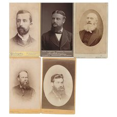 Group of 5 Carte-de-Visite (CDV) photographs of Men with Beards