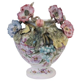 Antique French Majolica Impressionist Haviland Planter Vase With Rich Flourish Decor