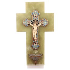 Sublime Antique French Champleve Enamel Crucifix Holy Water Font Natural bone Christ in Onyx Plaque C1890