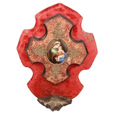 Antique Divine French Napoleon III Holy Water Font Crucifix with Handpainted Medallion Jesus Christ and The Virgin Mary