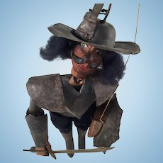 Amazing Rare Antique French Tin Toy Marionette Guignol Wood Doll Puppet Armor Circa 1900