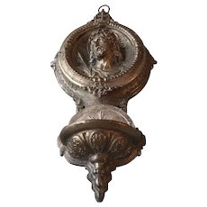 Fabulous Antique French Sculpted Renaissance Holy Water Font with Jesus Christ Medallion Crucifix Circa 1850