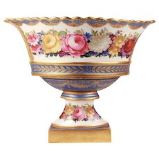 XL Fabulous Antique French Paris Porcelain Gilt Centerpiece Basket or Corbeille on Stand Hand Painted Style Sevres Napoleon III Era