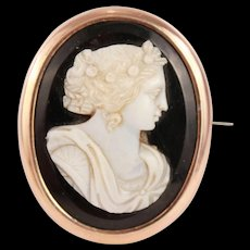 Divine Antique French Hand Carved Cameo in High relief Brass Gold Plated Brooch Hallmark