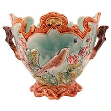 Superb Antique French Frie Onnaing Majolica Planter Cache Pot Jardiniere Circa 1880