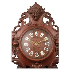 Antique French Black Forest Carved Oak Wall Clock Pendulum Renaissance with Enamel Numerals Circa 19th Century-France