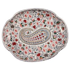 Antique French Signed Gien Porcelain Faience Centerpiece Large Plate Hand painted Paisley Boteh and Flowers Cashmere - Red Tag Sale Item