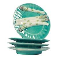 Antique French Majolica Asparagus Plate Set of 4 Luneville K&G Déposé