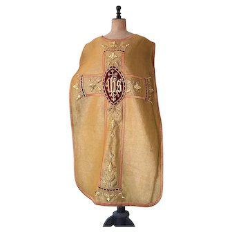 Antique Religious French Priest Catholic Cucifix Gild Metallic Embroidered Chasuble Vestment IHS Goldwork