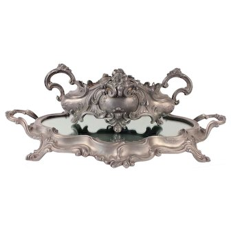 Antique French Silver Plated Metal Jardiniere Planter with Mirrored Tray
