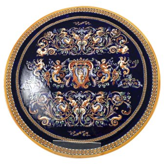 Huge Antique French Gien Pottery Wall Plate 19th century Signed 1866