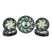 Chic Complete Set of Green French Majolica Oyster 10 Plates and 1 Platter Signed Saint Clement