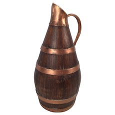 French Antique Wood Copper Barrel Shape Jar Jug Pitcher For Wine or Cider