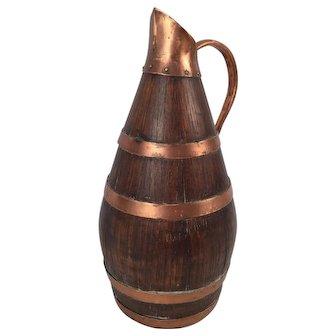 French Antique Wood Copper Barrel Shape Jar Jug Pitcher For Wine or Cider