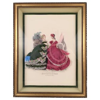 Antique French Fashion Print La Mode Illustree Circa