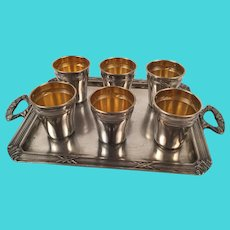 Antique French Sterling Silver 18K Gold Liquor Cups & Tray