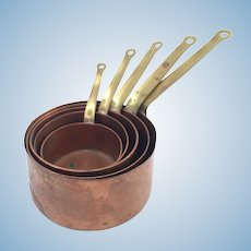 Antique French Gaor Villedieu 5 Miniature Copper Pans for Doll Kitchen circa 1880