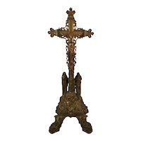French Antique Ormulu Solid Bronze Crucifix Jesus Christ Corpus Mary 19th Century