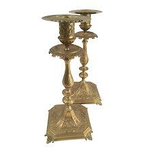Antique French Pair of Solid Bronze Chamberstick Candlestick Candelabra 19th Century