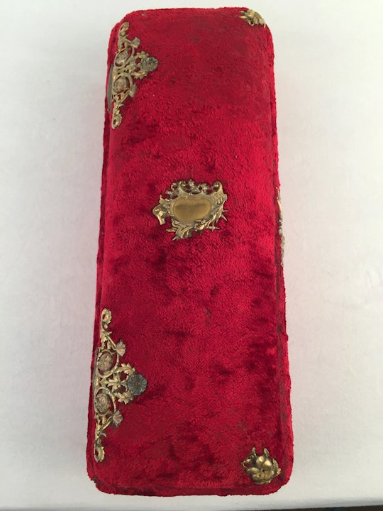 Antique French Red Velvet Jewelry or Gloves Trinket Casket Box Circa 1880