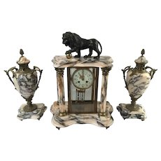 Magnificent Antique French Complete Cage Mantel Clock Pendulum & Garniture Set, Bronze & Marble, Late 19th Century