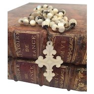 Antique French Mother of Pearl rosary & Hand Carved crucifix