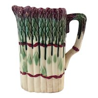 French Antique Asparagus Pitcher Majolica from Onnaing, 19th Century