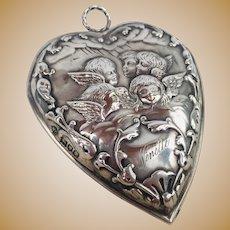 English Antique Sterling Silver Heart Paperclip Letter clip Cherub Putti Angel Hallmarks