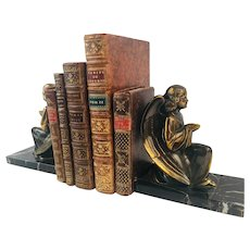 Pair of Antique Copper Winged Angel Sculpture Bookends Marble Base