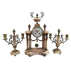 Antique French Cage Mantel Clock Pendulum & Garniture Set Candlestick Candelabra, Bronze & Marble, Circa 1855