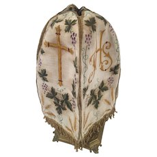 19thC Antique Century French Hand Painted Silk Religious Ciborium Veil IHS Crucifix