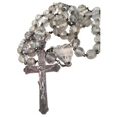 Antique French Crystal rosary & Sterling Silver crucifix