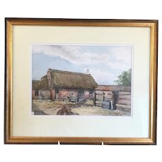 English Vintage Watercolor Painting Countryside Signed & Dated