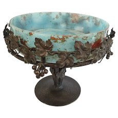 French Art Deco Mottled Glass Centerpiece Cup with Wrought Iron Schneider Style circa 1930