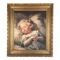 19th Century French Oil Painting Dormant Child Putti Chubby French School Signed