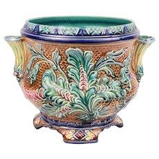 Sublime Antique French Majolica Cache Pot Jardiniere Planter Art Nouveau With Flourish decor Circa 1890 - Red Tag Sale Item