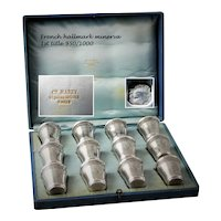 12 French Parisian Sterling Silver 950/1000 Vermeil Gold Liquor Cordials in Original Box, Cups, Napoleon III Period