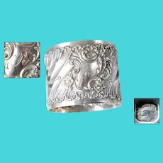 Rococo French Antique Sterling Silver Napkin Ring Monogrammed R