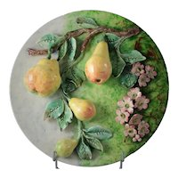 French Antique Majolica Barbotine Impressionist Wall Platter with Pears from Longchamp Circa 1850