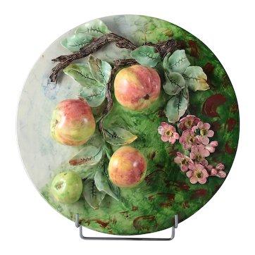 Lovely French Antique Flower Daisy Shape Majolica Plate 19th Century Longchamp