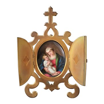 French Antique Napoleon III Hand Painted Devotional Porcelain Medallion Frame the Madonna and Child
