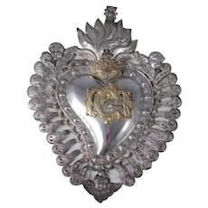 Antique Italian Silver Sacred Heart Ex Voto with Cherub Putti Angel (Reserved for Pamela)