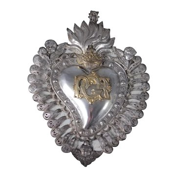 Antique Italian Silver Sacred Heart Ex Voto with Cherub Putti Angel